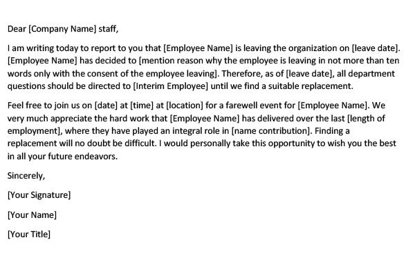 Announcement of Employee Leaving Company (Word Template)