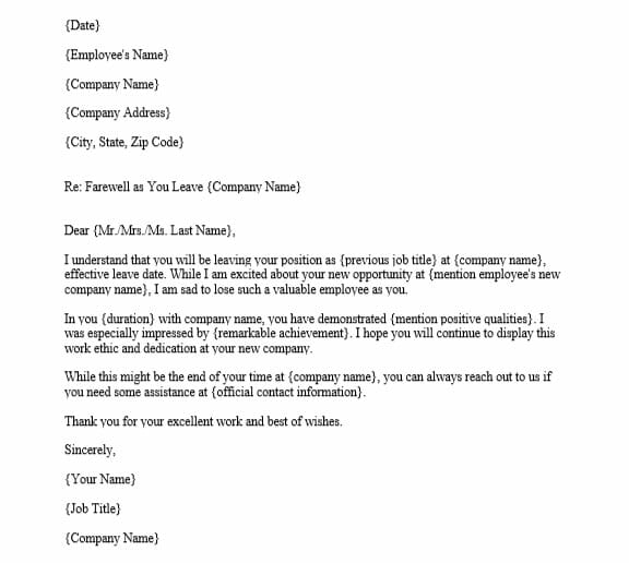 Farewell Email to Employee from Manager