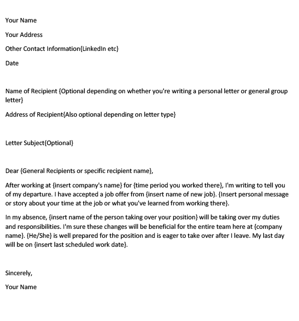 Farewell email to business partners