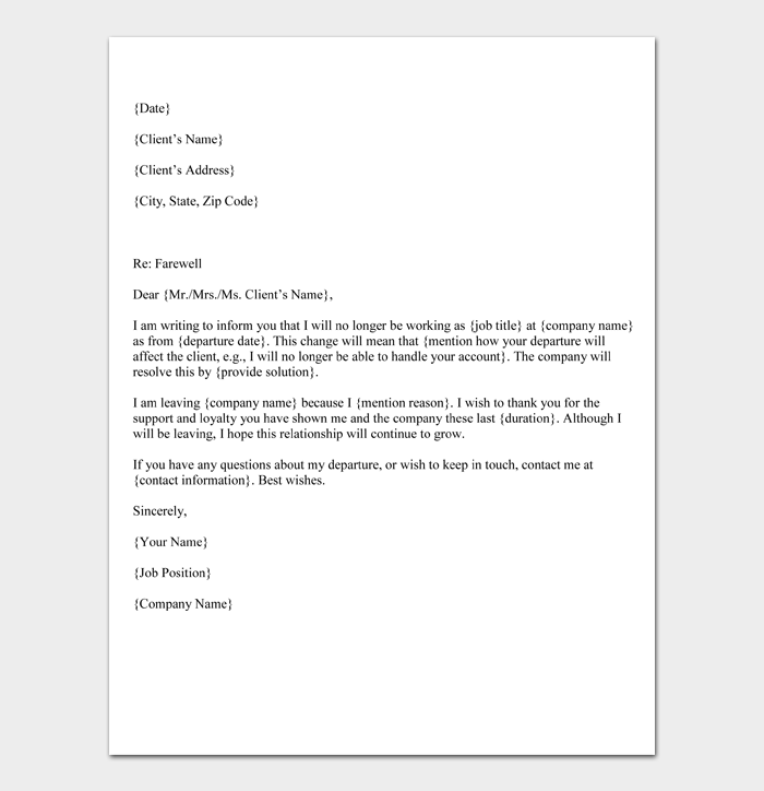 Farewell letter to Customers or Clients (Template)