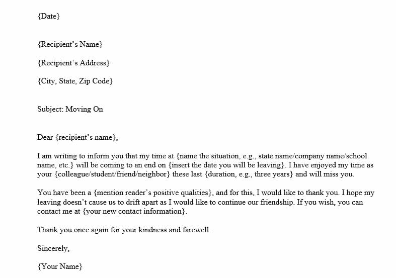 Farewell Letter Template (Word Template)