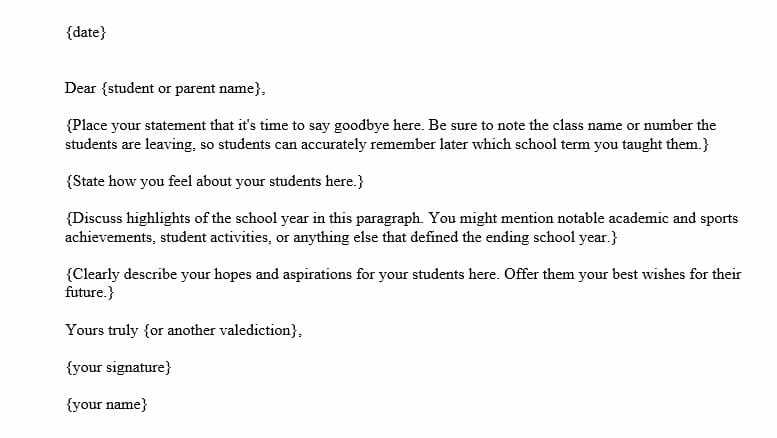 Goodbye Letter to Students at the End of the Year