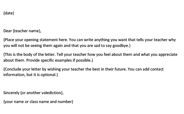Farewell Letter to Teacher from Students