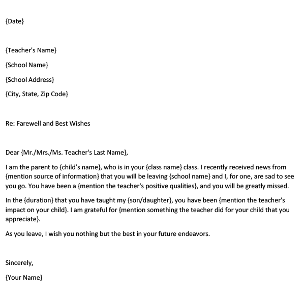 Farewell Letter to a Teacher from a Parent