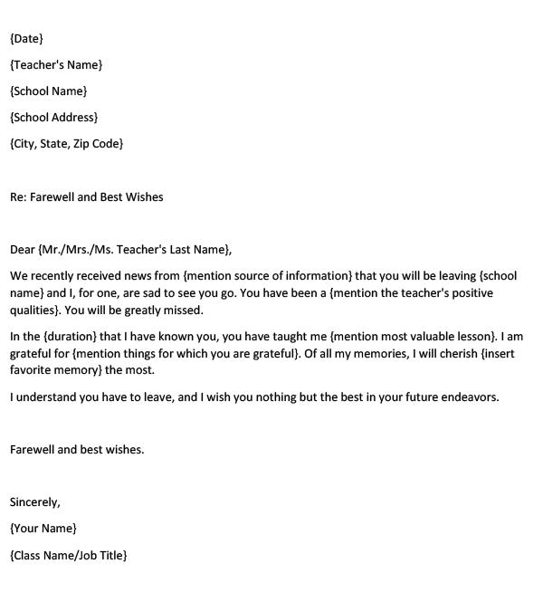 Farewell Letter to a Teacher