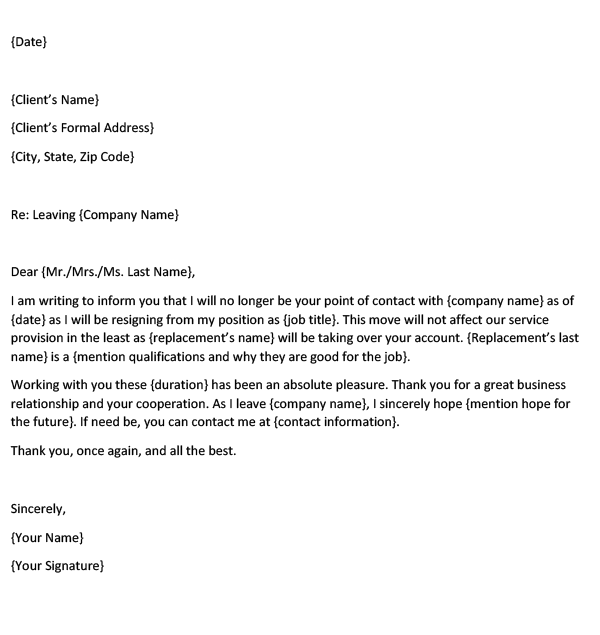 Farewell letter or email to the clients after resignation