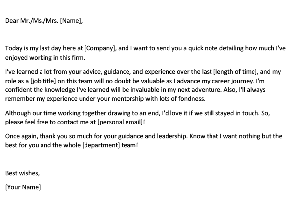 Goodbye Email to Boss