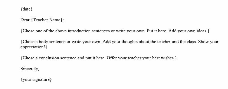 Goodbye Letter to Teachers at the End of the Year (Word Template)