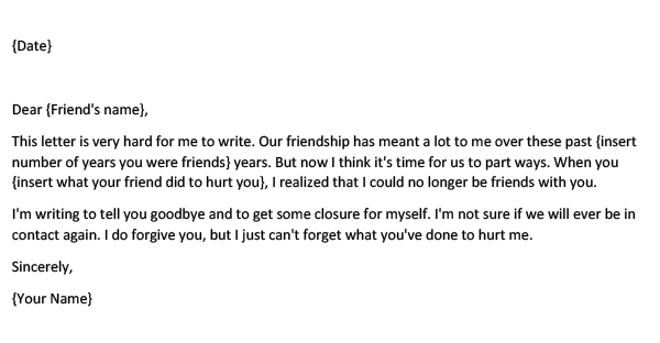 Goodbye Letter to a Friend Who Hurt You