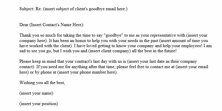 Reply to Goodbye E-mail Message from Client