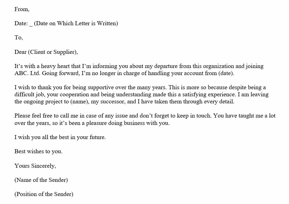 Goodbye Letter To Customers and Suppliers (Word Template)